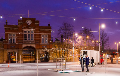 Feb' 1st 2012.  Early morning set up in Beresford square