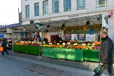 March 5th 2013. Market stalls in greens end