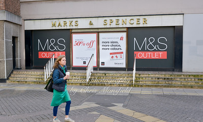 Feb' 22nd 2014.. Obsolete entrance to Marks and Spencer in Calderwood street