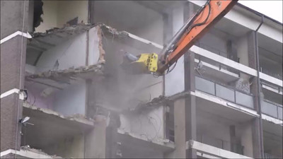 Video clip of Connaught estate demolition October 2015