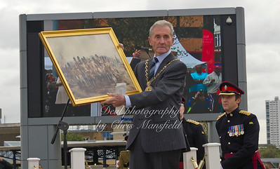 Oct' 8th 2011 .  Mayor of Greenwich Cllr Jim Gilman accepts a picture from the 2nd Batallion Prince of wales regiment