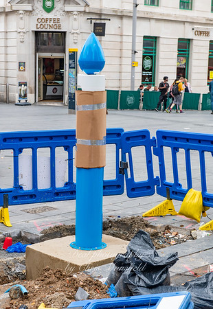 July 27th 2019.  New Thames water / Mayor of London water fountain being installed in General Gordon square