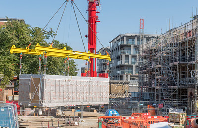 Sept' 1st 2018   Modular apartment being lifted into position near the new Crossrail station