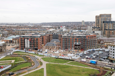 Feb' 14th 2018.  View from Riverside house showing redevelopment inside the Arsenal estate