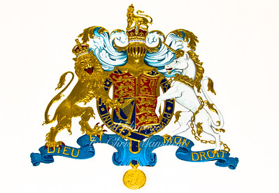 Close up of the coat of arms above the magistrates seat