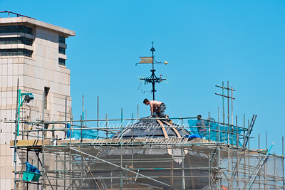 26th May 2012.  Repair work on the top of the old Co op clock tower