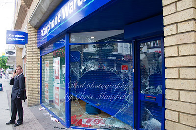 August 9th 2011.. the day after the riots , Carphone warehouse, Powis street