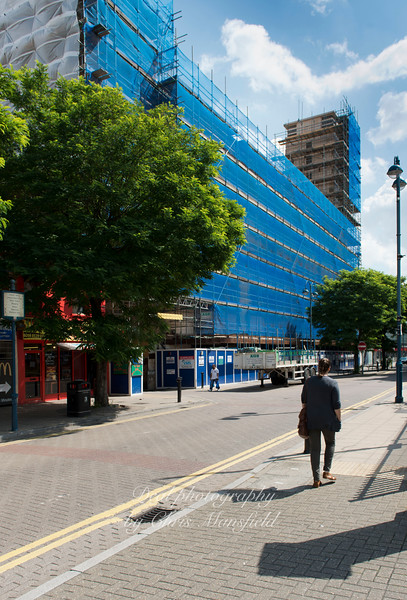 August 7th 2014 ..  Powis street showing the rebuild of the Co op Building