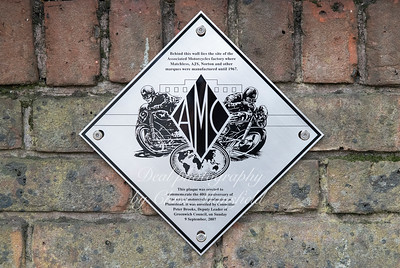 June 26th 2018.  AMC plaque on the corner of Maxey road and Plumstead road