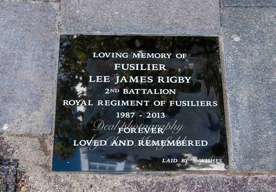 Nov' 3rd 2018.  Just beyond the top of Wellington street at the spot where Lee Rigby was murdered ,  an unofficial memorial stone has been fitted into the pavement
