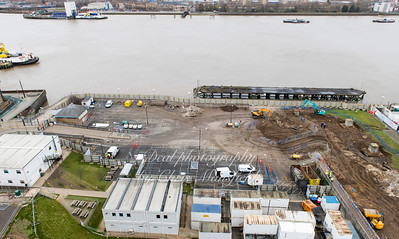 Feb' 14th 2018 .  View from the top of Riverside house showing what was the Leisure centre car park .. Now closed .  The old Woolwich power station was previously on this site  .  Before construction begins there will be an Archaeological survey of the site