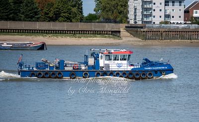 Aug' 22nd 2019,  Thames Clearwater 2 passing Woolwich .. This vessel was designed to skim up surface litter from the Thames