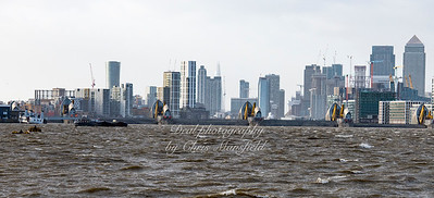 Jan' 3rd 2018. Thames Barrier ( closed ) viewed from ferry pontoon area