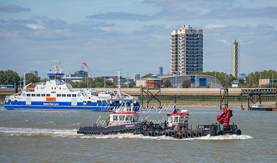 "Aug' 22nd 2019.  Chinese built tug / workboat ""Devout"" passing woolwich .,  pushing workboat Emilia D"