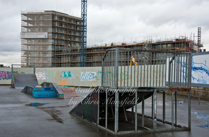 Jan' 6th 2015 . Skateboard ramps in Royal Arsenal gardens off Warren lane