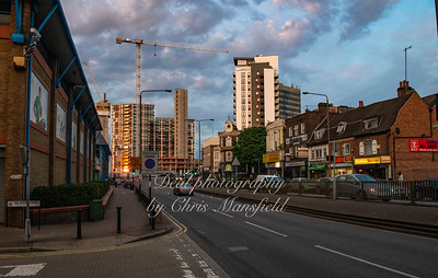 July 12th 2019.  Woolwich high street looking east at dusk