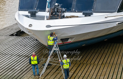 Feb' 17th 2020.  Briggs marine carrying out some repairs on the Silver Sturgeon
