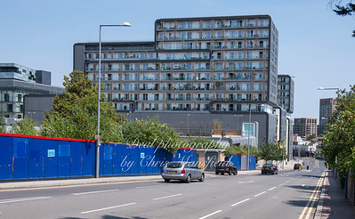 July 1st 2018.  Grand depot road ,  showing the 'Woolwich central' apartments and the Woolwich centre on the left