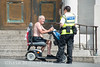 July 25th 2016. A town centre warden speaks to a gentleman caught drinking alcohol in General Gordon place.