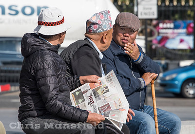 Oct' 4th 2016. Ghurka veterans relaxing in Beresford square