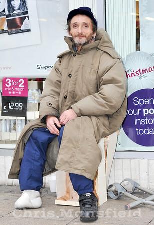 Dec' 8th 2011.. Local rough sleeper Colin Greenway