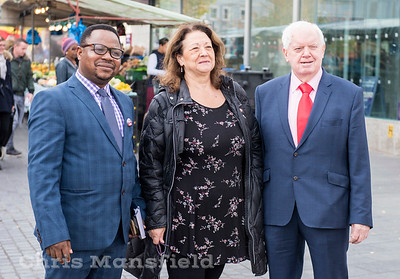 Oct' 28th 2017.   Cllr John Fahy ( right ) Cllr Jackie Smith (centre ) and Cllr Dominic Mbang