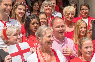 July 11th 2018.  Council leader Danny Thorpe and colleagues  look forward to tonight World cup  semi final being screened in General Gordon place.. England v Croatia