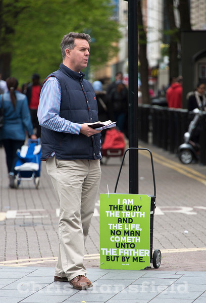 May 20th 2015 .  One of several bible bashers in Powis street today