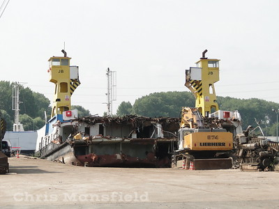 July 16th 2019 .. Woolwich Ferry John Burns being dismantled