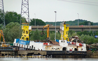 June 5th 2019 ..  Woolwich ferry John Burns being dismantled