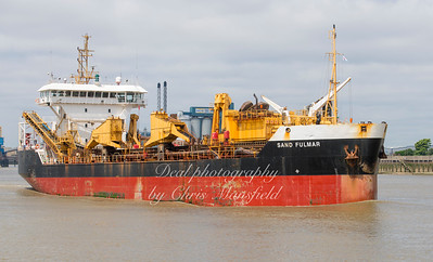 June 20th 2018. Dredger, Sand Fulmar passing Woolwich , outward bound towards Lowestoft