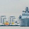 May 28th 2014 HMS Bulwark passes the ferry on its way to Greenwich