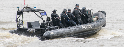 July 11th 2018.  Police RIB  passing Woolwich ferry