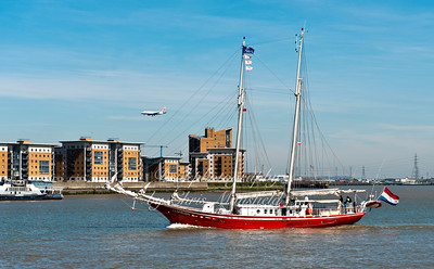 April 15th 2015. Sailing ship Eldorado passing through Woolwich