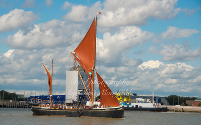 "Sept' 12th 2015. Sailing barge ""Hydrogen"" passing Woolwich"