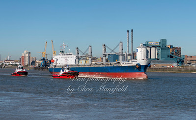 Sept 26th 2018. Cargo ship TSL Rosemary leaving Tate & Lyles wharf