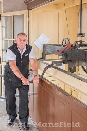 Oct' 19th 2017. Steve Scrivener winding the Town hall clock