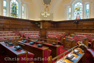 March 17th 2015 . New upholstery and microphones in the council chamber