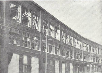 The clothing factory of Clayton & Sons in Barrington Street, which ran almost along the water's edge. This was one of the largest and most substantial buildings in the city and it was seriously damaged.