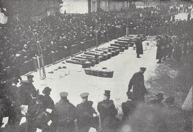 Coffins piled up in front of Chebucto Road School at the funeral of nearly 100 unidentified dead. Due to the fact that many famillies were destroyed in their entirety, there were many victims that could not be identified by anyone close. Others, of course, were beyond recognition.