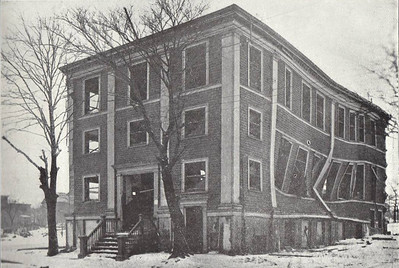 The badly damaged hulk of St Joseph's Hall on Gottingen Street. Of those buildings not totally destroyed in the explosion, many were perforce demolished in the aftermath due to their unsafe condition.