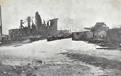 Ruined buildings in Richmond. Being one of the poorer districts of the city, many of the houses were built mainly of wood and so little was left standing. 1,630 homes were destroyed in the explosion and fires, with 12,000 more houses damaged. This disaster left roughly 6,000 people homeless and without shelter and 25,000 without adequate housing, this in the middle of winter.
