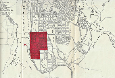 A map of part of Halifax showing the Richmond area, which took the full force of the blast, blocked in red. The red cross shows the position of the MONT BLANC at the moment of the explosion. Naturally, the Richmond area, near to industry and the docks, was one of the poorest parts of Halifax and those who could least afford it were worst affected.