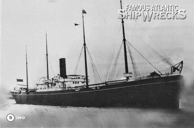 The Belgian Refugee Relief ship IMO was driven ashore on the Dartmouth side of the Harbour. She had been built in 1889 for Shaw Savill Lines as the RUNIC and had become the Norwegian IMO in 1912. Due to severe traffic congestion in Halifax Harbour, she had been allowed to sail in the wrong shipping lane and met the approaching MONT BLANC on what was almost a collision course. MONT BLANC had pulled off to one side and the two ship were narrowly passing each other when the IMO, fearing a collision, threw her engines astern and drew the other ship down on top of her. Her bow cut 9 feet into MONT BLANC's side and sparks from the grinding metal ignited fumes from the damaged and dangerous cargo. Despite it's derelict condtion, the IMO was subsequently rebuilt as the whaling ship GUVERNOREN and wrecked in the Falkland Islands in December 1921.