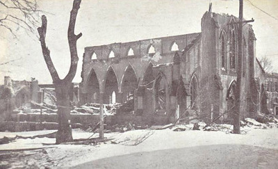 St Joseph's Church was situated over a mile and a half from the centre of the explosion and yet it is more or less totally destroyed. Less robust wooden buildings must have stood little chance.