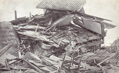 A ruined home in Richond, reduced to matchwood in just seconds. Note the items of furniture strewn about and the bathtub sandwiched between the floor and roof. Homes were destroyed or damaged within a 16 mile radius of the explosion.