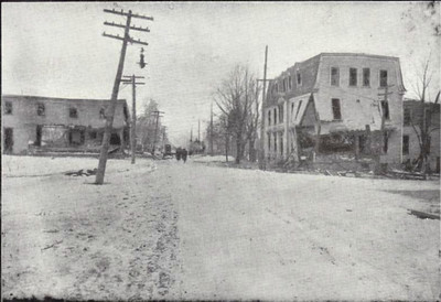 The havoc wrought among homes and stores on Gottingen Street, one of the main thoroughfares in Richmond. The explosion damaged buildings and shattered windows as far away as Sackville and Windsor Junction, about 10 miles away. Buildings shook and items fell from shelves as far away as Truro and New Glasgow, both over 60 miles away. The explosion was felt and heard in Charlottetown, Prince Edward Island, roughly 130 miles to the north, and as far away as North Cape Breton, 220 miles to the east.