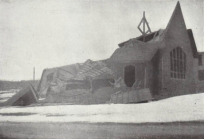 The completely ruined Emmanuel Episcopal Church in Dartmouth. Although the Dartmouth side of the harbour was somewhat protected by it's distance from the centre of the explosion, over 100 people were killed and the small Mi'kmaq Indian settlement of 20 famillies completely destroyed and abandoned.