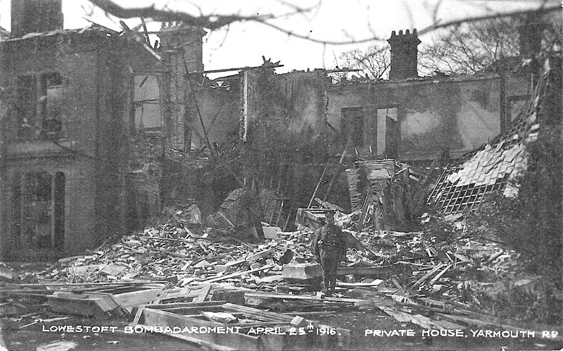 APRIL 25TH, 1916 - LOWESTOFT - A house in Yarmouth Road completely destroyed, this time to the north of the Docks. The soldier appears to be guarding the ruins.