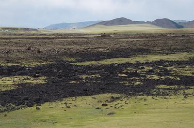 Volcanic Rock along the road near the Terkhiin Tsagaan Lake aka the White Lake in North Central Mongolia.